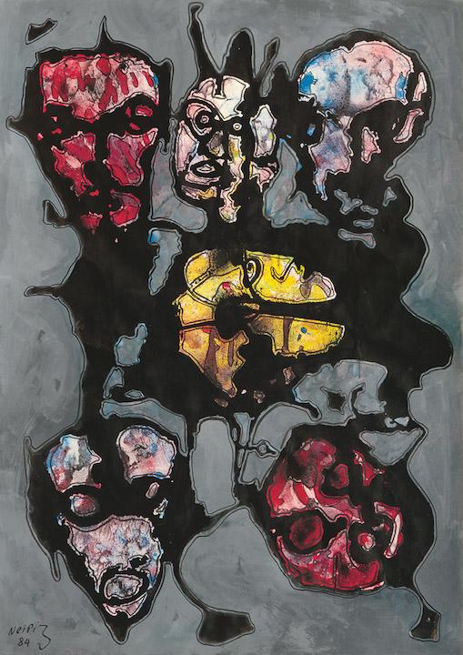 Hamid S. Neiriz - Atelierwand mit Masken II